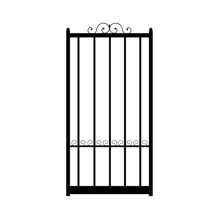 Vector illustration of forged gate door.