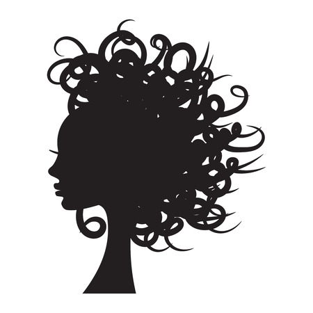 Vector illustration of girl silhouette with long curly hair. Vettoriali