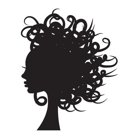 Ilustración de vector de silueta de niña con pelo largo y rizado.