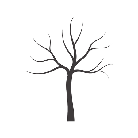 Vector illustration of bare tree. Çizim