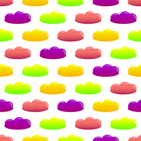 Vector seamless pattern of colorful cartoon jelly candies on cloud shape design. Illustration