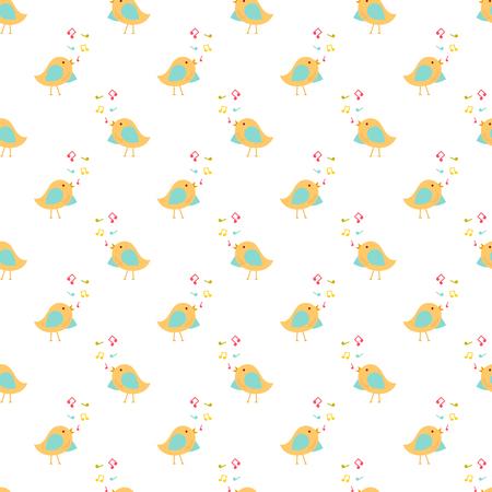 Vector seamless pattern of singing birds Illustration