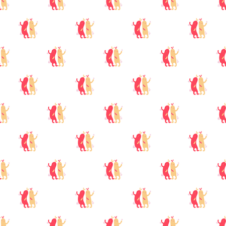 Vector seamless pattern of cartoon dancing abstract characters Illustration