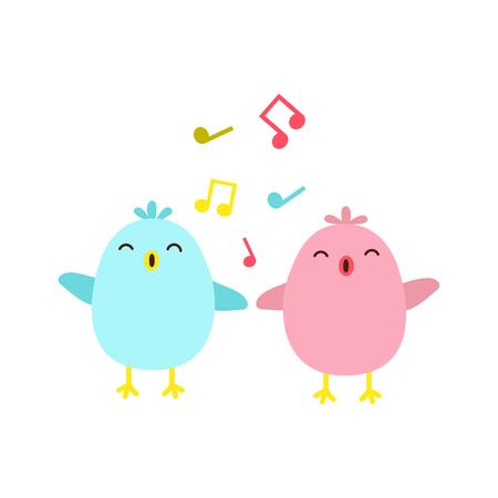 Vector illustration of colorful singing birds Illustration