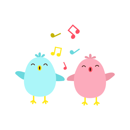 Vector illustration of colorful singing birds Çizim