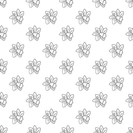 Vector seamless narcissus monochrome pattern.