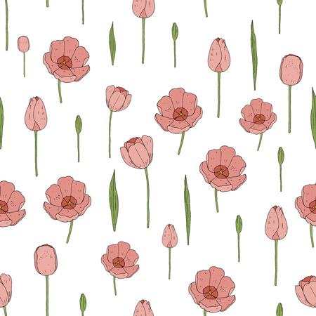 Vector seamless tulip pattern. Floral seamless pattern.