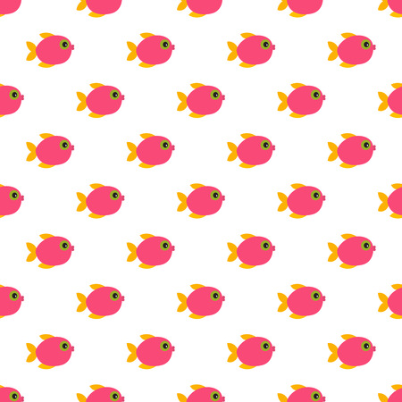 Vector seamless pattern of cartoon colorful fishes.