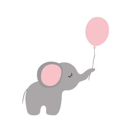 Vector illustration of cartoon elephant with balloon