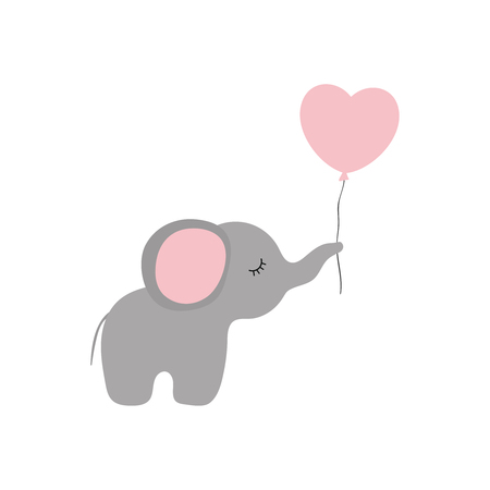 Vector illustration of cartoon elephant with heart balloon