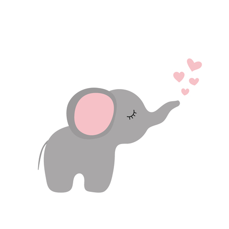 Vector illustration of small cartoon elephant with hearts Çizim