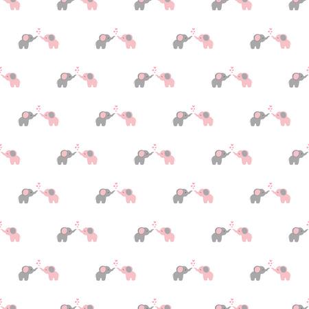 Vector seamless pattern of cartoon elephants
