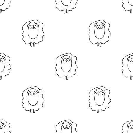 Vector seamless pattern of cartoon outline sheep