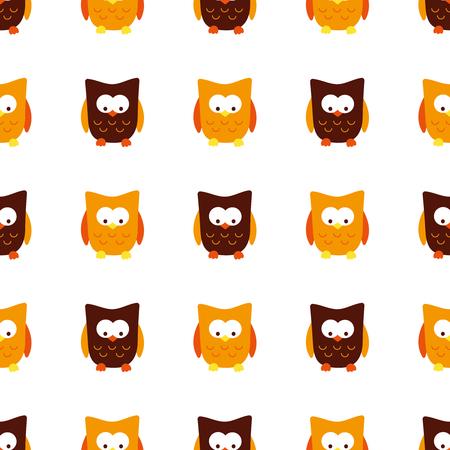 Vector seamless pattern of cartoon owl
