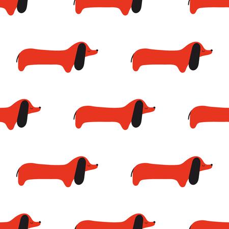 Vector seamless pattern of cartoon dachshund. Vector dog.