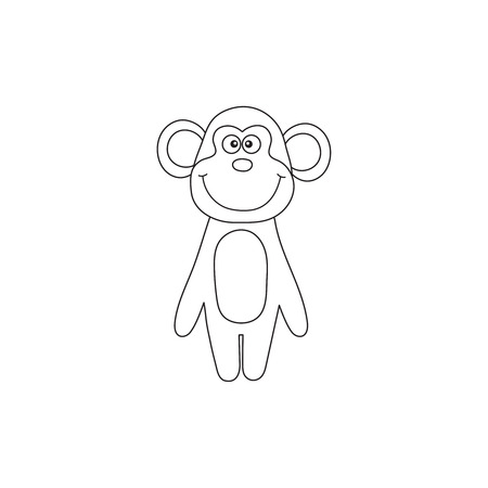 Vector illustration of cartoon outline monkey