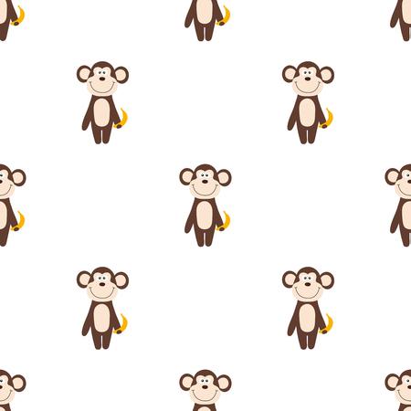 Vector seamless pattern of cartoon monkey with banana
