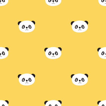 Vector seamless pattern of cartoon panda head