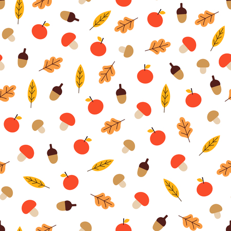 Vector seamless pattern with mushrooms, acorns, apples and leaves