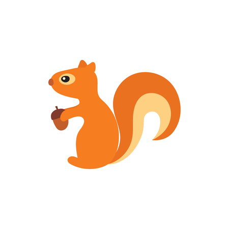 Vector illustration of squirrels with acorn