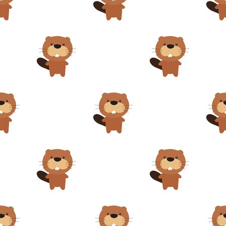 Vector seamless pattern of cartoon beaver Ilustracja