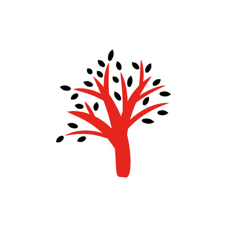 Vector illustration of red tree with black leaves.