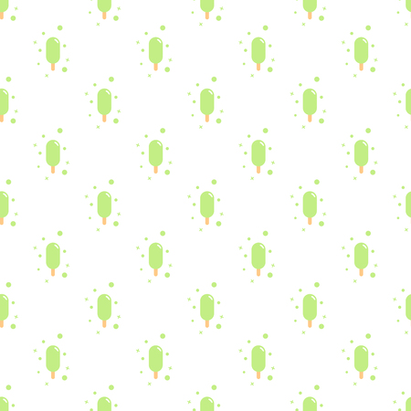 Vector seamless pattern of simple mint green ice cream