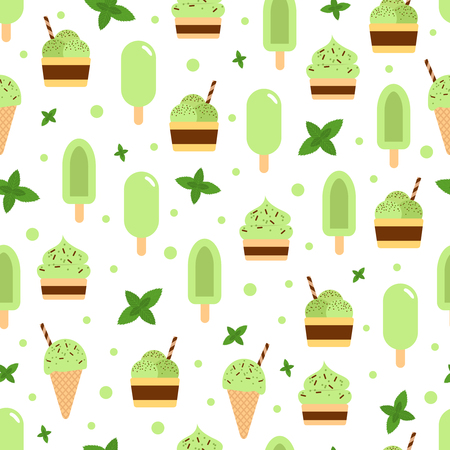 Vector seamless pattern of different mint ice creams.
