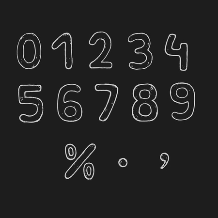 Vector hand drawn numbers. Vector chalk numbers.