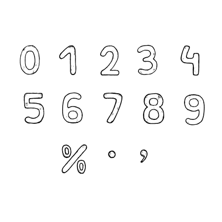 Vector hand drawn numbers.