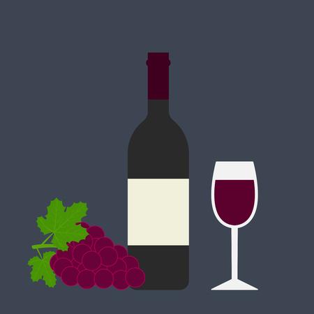 Vector illustration of grape, wine glass and bottle.