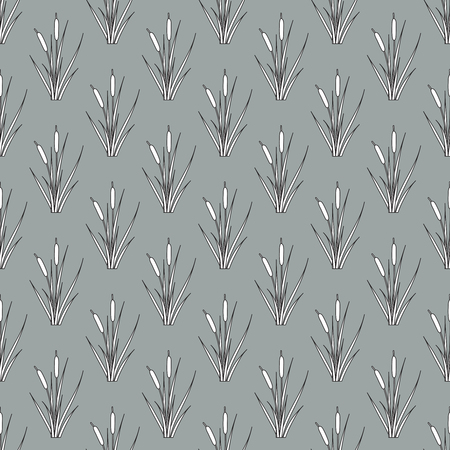 Seamless pattern of outline reed bushes.