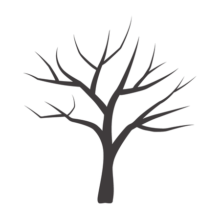 Vector illustration of bare tree. Vector tree. Çizim