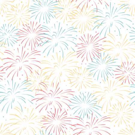 Vector seamless pattern of fireworks. Seamless pattern.