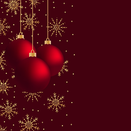 Three red vector hanging Christmas balls with gold snowflakes and sparkles. Hanging Christmas balls. Vector Illustration