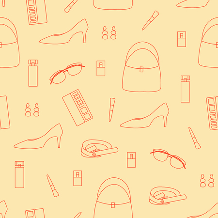 Seamless pattern of fashion outline woman accessories.