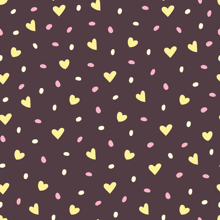 Vector seamless pattern of hearts and dots. Seamless pattern. Иллюстрация