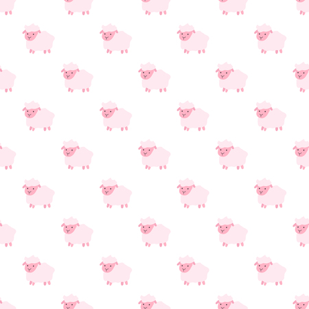 Vector seamless pattern of cartoon pink sheep. Seamless pattern.