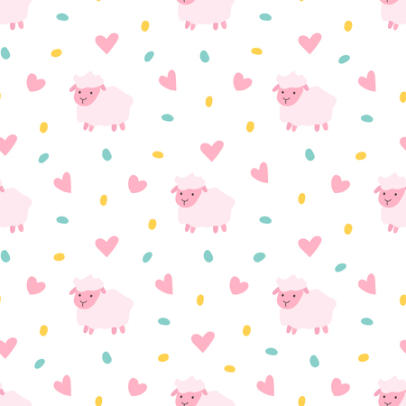 Vector seamless pattern of cartoon pink sheep with dots and hearts. Seamless pattern.