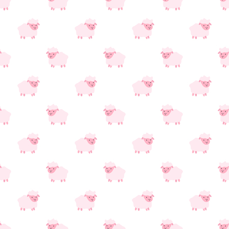 Vector seamless pattern of cartoon pink sheep. Seamless pattern.