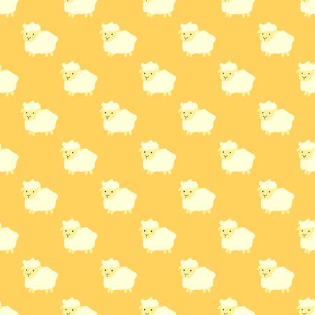 Vector seamless pattern of cartoon yellow  sheep.