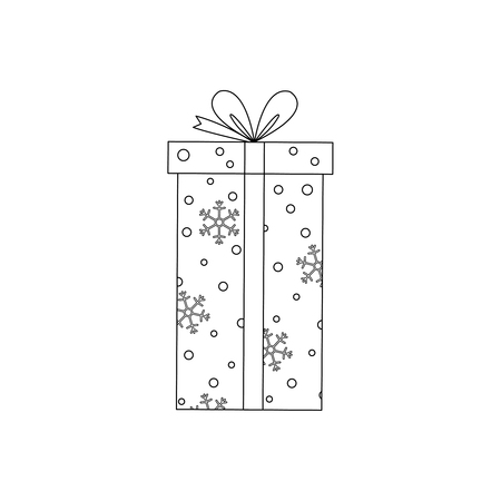 Vector outline Christmas gift box with snowflakes.