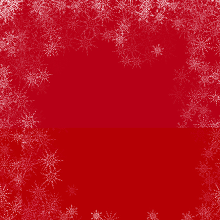 Vector red Christmas background with white snowflakes.