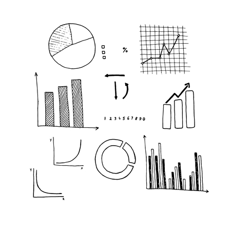 Vector set of hand drawn infographics with graphs and charts. 일러스트
