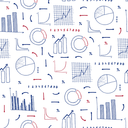 Vector seamless pattern of  different hand drawn infographic elements with graphs and charts. Ink infographic elements. Vettoriali