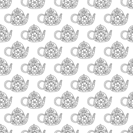 Vector seamless pattern with outline teapots decorated with flowers and leaves. Иллюстрация