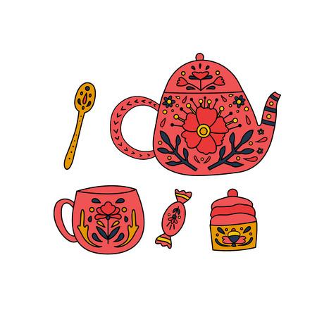 Wektor zestaw cukierków, ciastko, łyżka, czajnik i filiżanka ozdobiona kwiatami i liśćmi.