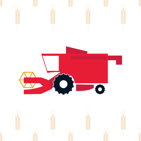Vector illustration of  combine harvester. Vector agricultural machinery. 일러스트