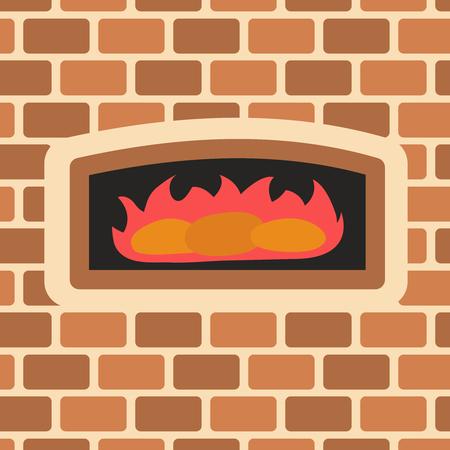 Vector illustration of brick oven.  Baking bread in brick oven.