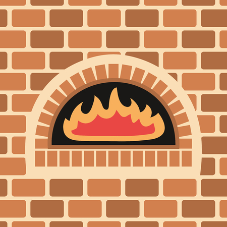 Vector illustration of brick oven. Fire inside a brick oven.
